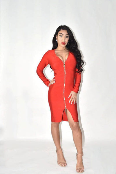 Singapore Red Bandage Dress With Zip Detail - IvyEkongFashion