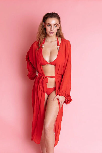 ZILLY RED LONG CHIFFON COVER UP BEACH CLOAK - IvyEkongFashion