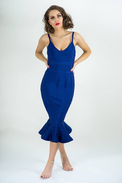 Adreia  Blue Bandage Bodycon Mermaid Dress - IvyEkongFashion