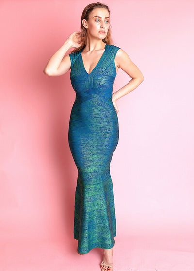 ALIAZO GREEN DEEP PLUNGE BANDAGE MAXI DRESS - IvyEkongFashion