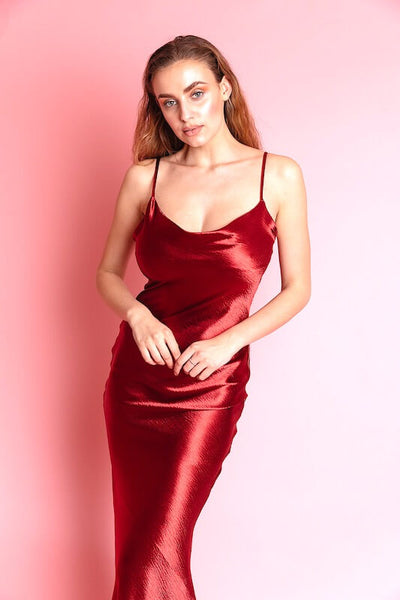 ACIE BURGUNDY SEXY SATIN MIDI DRESS - IvyEkongFashion