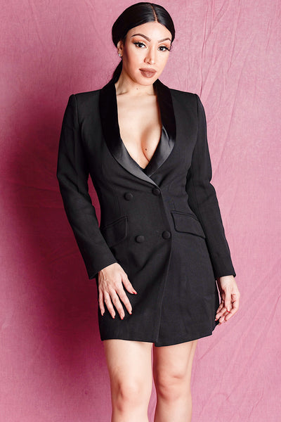 BETH BLACK DOUBLE BREASTED SATIN COLLAR BLAZER DRESS - IvyEkongFashion