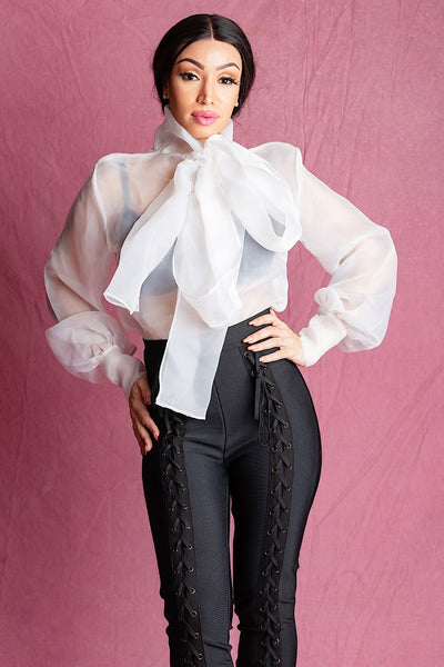 Chelsea White Organza Dramatic Bow Blouse - IvyEkongFashion