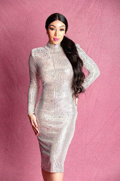 EMELIA SILVER SEQUIN BODYCON MIDI DRESS - IvyEkongFashion