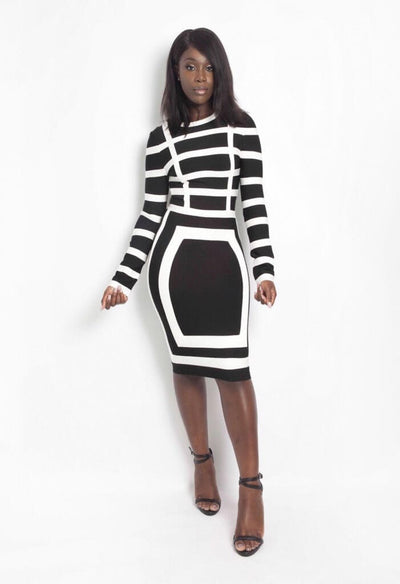 SOHO BLACK AND WHITE BANDAGE DRESS - IvyEkongFashion