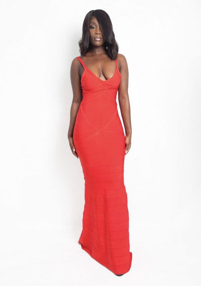 GABY RED MAXI BANDAGE DRESS - IvyEkongFashion