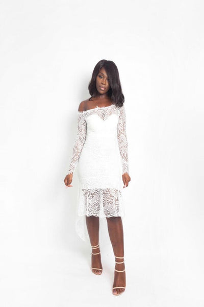 MARIA WHITE LACE MAXI DRESS - IvyEkongFashion