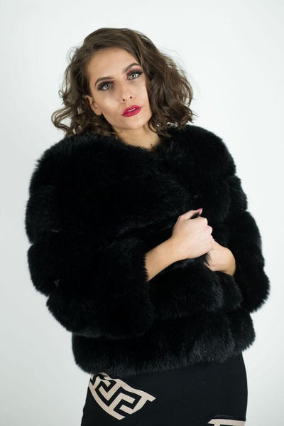 ADIVA BLACK  SOFT FAUX FUR  COAT - IvyEkongFashion