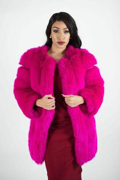 ASPEN PINK  SOFT FAUX FUR  COAT - IvyEkongFashion