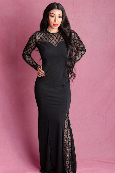Sashae  Black Embellished Maxi Dress - IvyEkongFashion