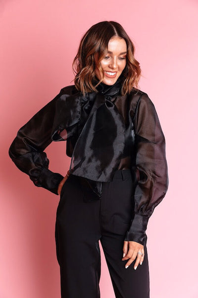 CHELSEA BLACK ORGANZA DRAMATIC BOW BLOUSE - IvyEkongFashion