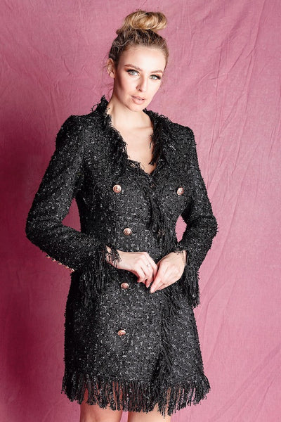 Amie  Black Tweed Shift Dress - IvyEkongFashion