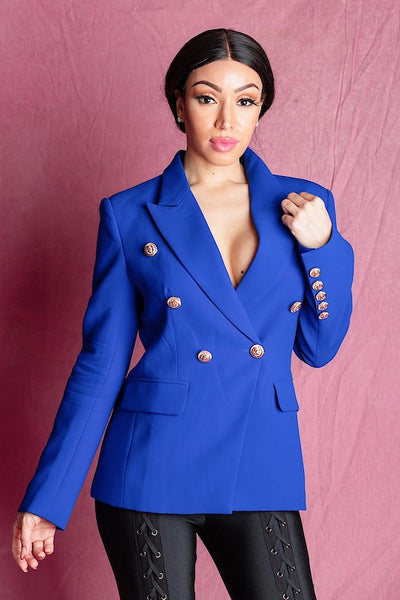 ADIOR BLUE DOUBLE BREASTED BLAZER JACKET - IvyEkongFashion
