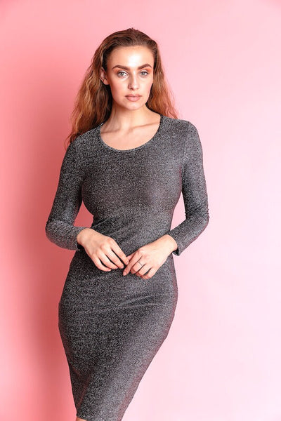 ELSINA GREY SHIMMER MIDI PARTY DRESS - IvyEkongFashion