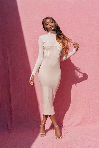 PORSHAR NUDE BODYCON LONG SLEEVE DRESS - IvyEkongFashion