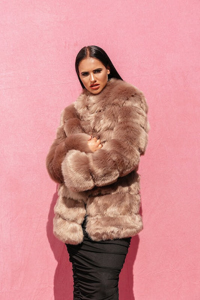 SHEYA BROWN LUXE LONG FAUX FUR COAT - IvyEkongFashion
