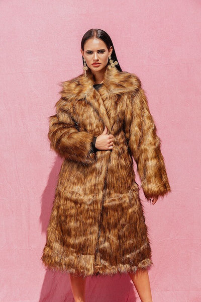 SHELLA BROWN SUPER LUXE FURRY LONG FAUX FUR COAT - IvyEkongFashion