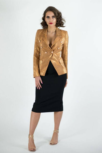 ADIOR GOLD DOUBLE BREASTED BLAZER JACKET - IvyEkongFashion