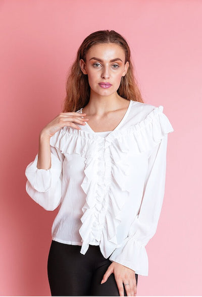 Stacey White Frill Blouse - IvyEkongFashion