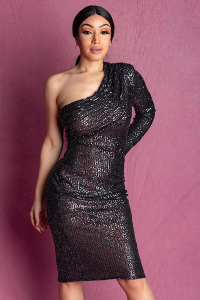 SAFFI BLACK ONE SHOULDER SEQUIN MIDI DRESS - IvyEkongFashion
