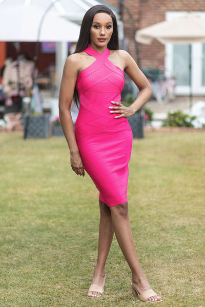 Rich Pink Bandage Dress - IvyEkongFashion