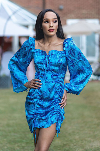 MANDI BLUE SATIN FLORAL LONG SLEEVE DRESS - IvyEkongFashion