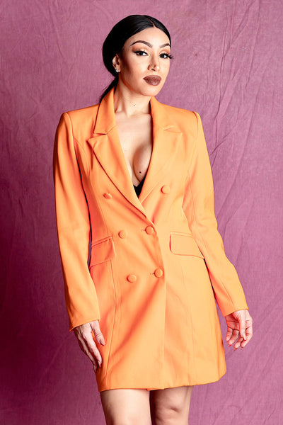Amirah Orange Double Breasted Blazer Dress - IvyEkongFashion