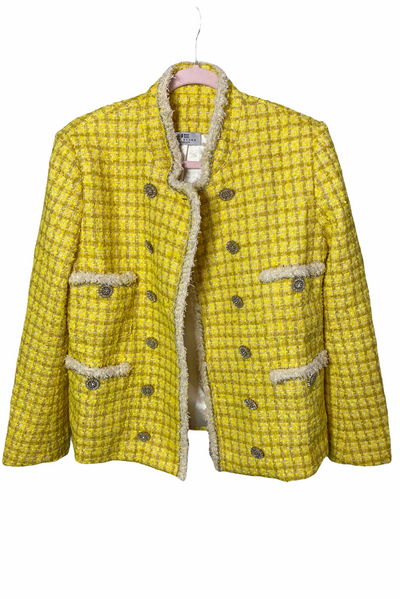 PARIS YELLOW TWEED CRYSTAL BUTTONS DETAIL JACKET - IvyEkongFashion