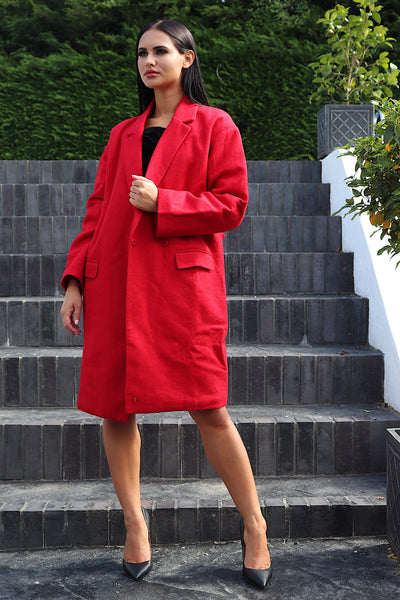 MOLLY RED LONG  WOOL COAT - IvyEkongFashion