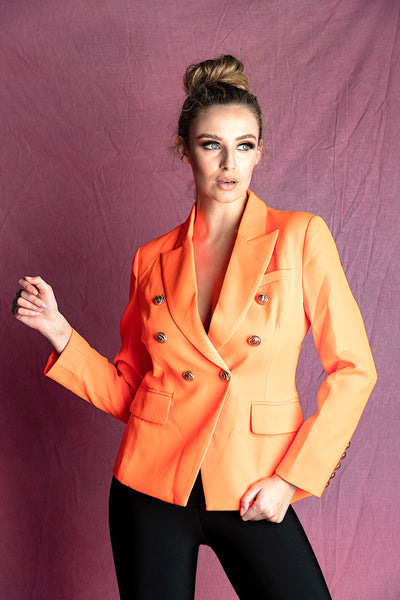 ADIOR ORANGE DOUBLE BREASTED BLAZER JACKET - IvyEkongFashion