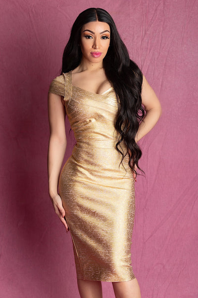 LEONA GOLD BANDAGE DRESS - IvyEkongFashion