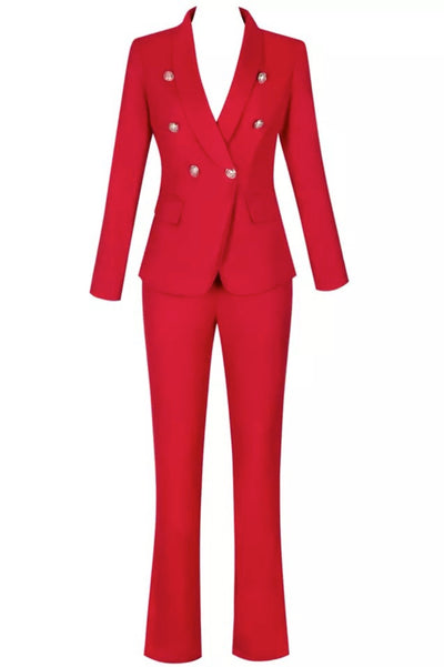 Kimberly  Red Trouser Suit  Two Piece Sets - IvyEkongFashion