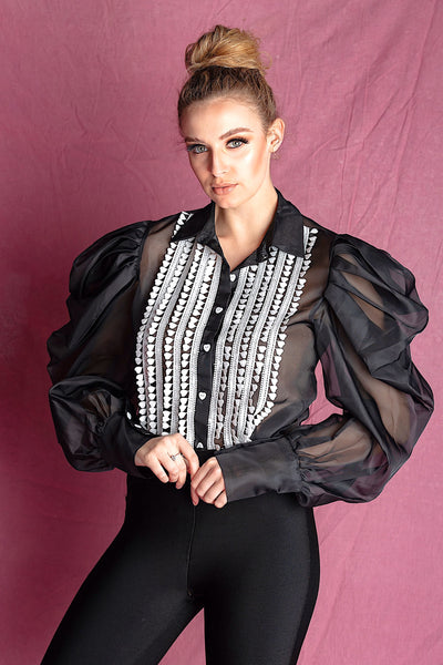 AYLA BLACK DRAMATIC PUFFY SLEEVE BLOUSE WITH WHITE ACCENT - IvyEkongFashion