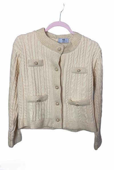 Mabeya Cream Pearl Buttons Knit  Sweat top - IvyEkongFashion
