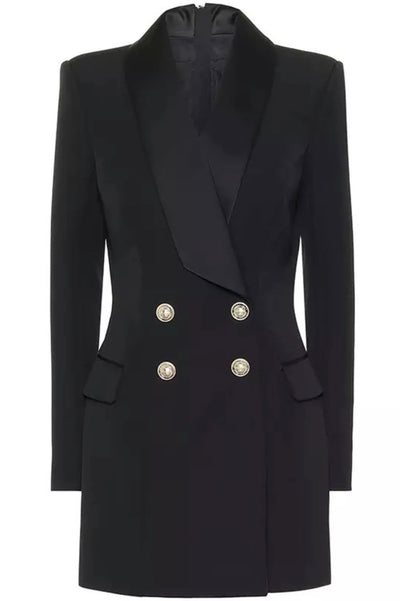 Hanah Black Double Breasted  Blazer Dress - IvyEkongFashion