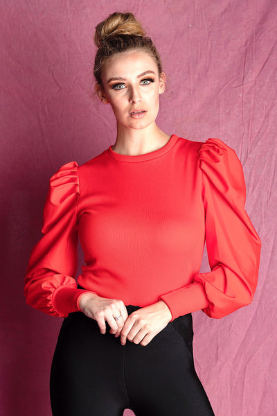 Carrie Red Puffy Sleeve Top - IvyEkongFashion