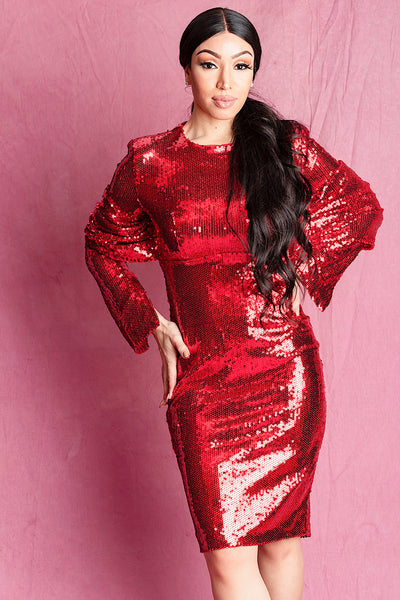 Loni Red Long Sleeve Sequin Dress - IvyEkongFashion