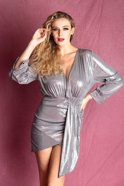 KALI SILVER METALLIC MINI PARTY OCCASION  DRESS - IvyEkongFashion