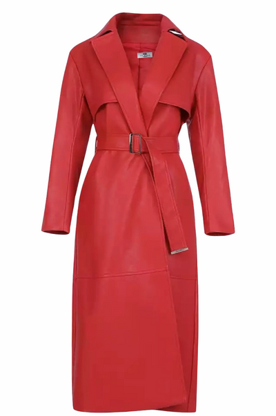 Mimi  Red Vegan  Luxury Leather Trench Coat - IvyEkongFashion