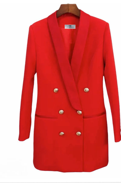 HANAH RED DOUBLE BREASTED BLAZER DRESS - IvyEkongFashion