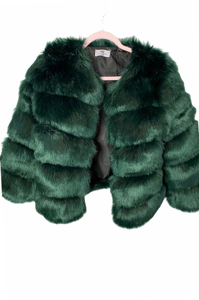 ADIVA GREEN SOFT  FAUX FUR COAT - IvyEkongFashion
