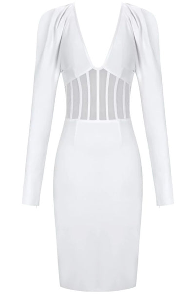 Tinae White Bandage Dress With Corset Detail - IvyEkongFashion