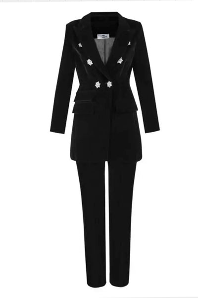 PEARL BLACK VELVET SUIT SETS - IvyEkongFashion