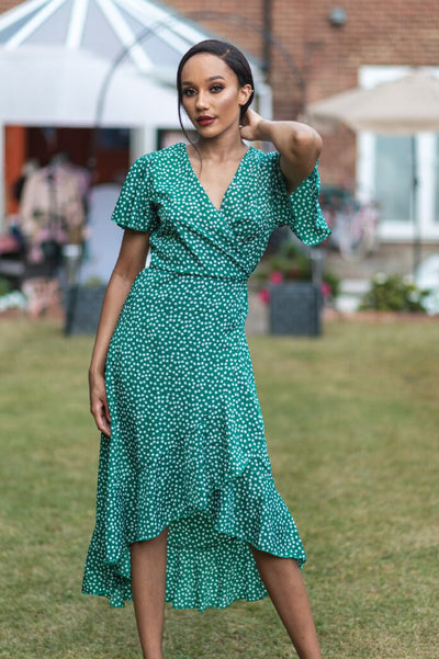 ERINA GREEN FLORAL WRAP MIDI DRESS - IvyEkongFashion