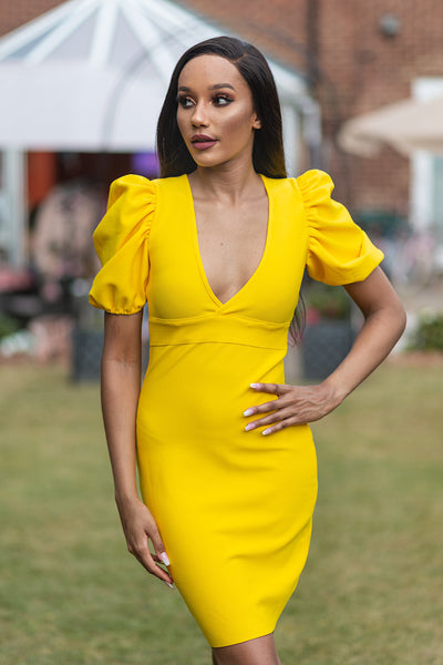 JOJO YELLOW DEEP PLUNGE BANDAGE DRESS - IvyEkongFashion