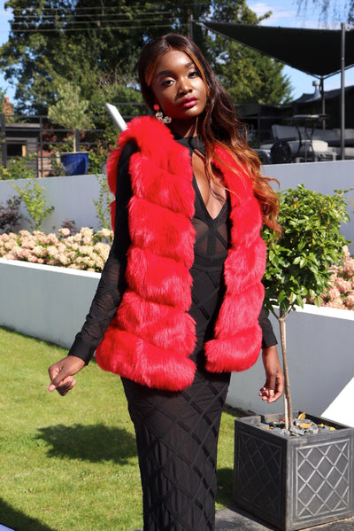 ABI RED LUXURY FAUX FUR COAT - IvyEkongFashion
