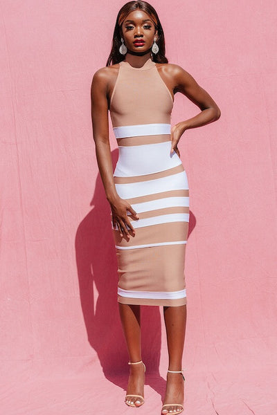 SHAYLA NUDE AND WHITE SEXY BANDAGE DRESS - IvyEkongFashion