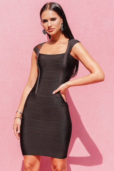 BEVERLY BLACK MINI BANDAGE DRESS - IvyEkongFashion