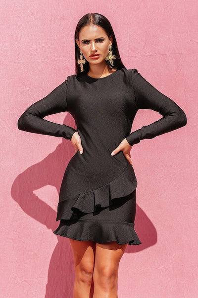 LISSY BLACK LONG SLEEVE MINI DRESS - IvyEkongFashion