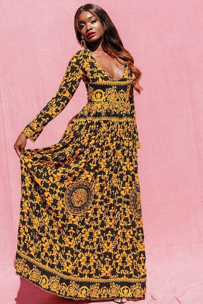 JANICE YELLOW PRINT LONG SLEEVE MAXI DRESS - IvyEkongFashion